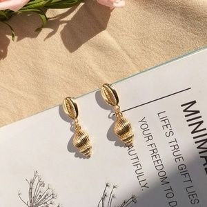 14K Gold Plated Sea Shell Drop Earrings Cowrie